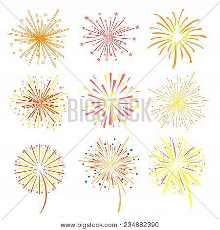 Brightly Celebration Fireworks Set, Holiday And Party Firework Design Elements Vector Illustration O