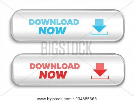 Download Now Buttons Isolated On White Background. Vector Illustration.
