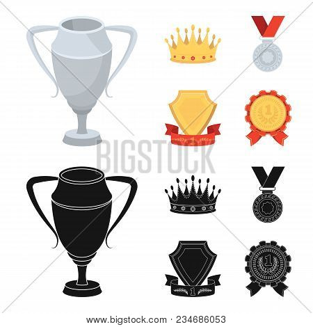 A Silver Cup, A Gold Crown With Diamonds, A Medal Of The Laureate, A Gold Sign With A Red Ribbon.awa