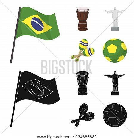 Brazil, Country, Flag, Drum . Brazil Country Set Collection Icons In Cartoon, Black Style Vector Sym