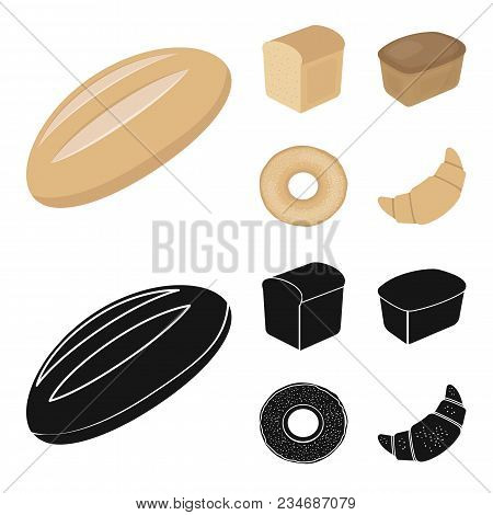 Loaf Cut, Bagel, Rectangular Dark, Half A Loaf.bread Set Collection Icons In Cartoon, Black Style Ve