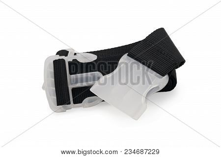 Strap For Luggage Of Black Color. Isolated On White Background.