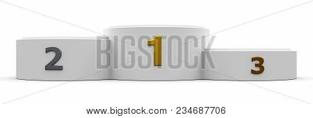 White Cylinder Wide Podium With Three Rank Places, Three-dimensional Rendering, 3d Illustration