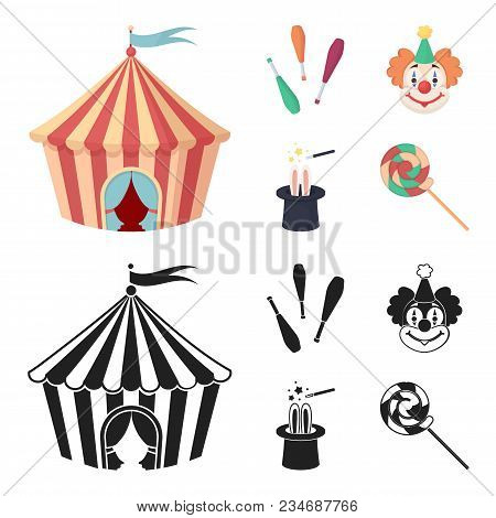 Circus Tent, Juggler Maces, Clown, Magician Hat.circus Set Collection Icons In Cartoon, Black Style