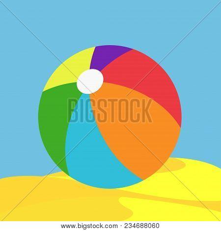 Color Beachball Icon Vector Illustration. Rainbow  In Beach Sand Sky Sea