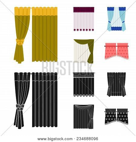 Curtains, Drapes, Garters, And Other  Icon In Cartoon, Black Style. Textiles, Furniture, Bow Icons I