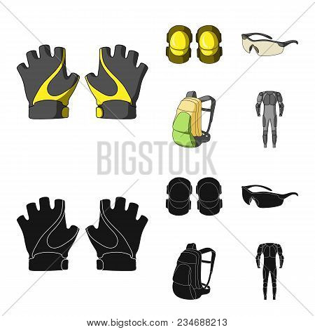 Gloves, Elbow Pads, Goggles, Cyclist Backpack.cyclist Outfit Set Collection Icons In Cartoon, Black