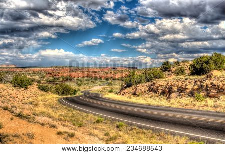 Hdr, Long Lonely Road In The Middle Of The Desert Under The Blue Sky. Hot, Endless Desert, Blue Skyl