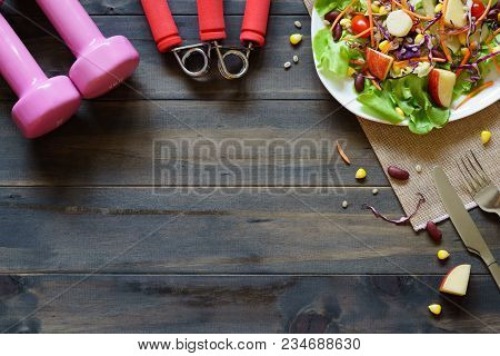 Healthy Lifestyle, Fitness, Fresh Healthy Salad, Diet And Active Lifestyles Concept, Dumbbells, Fres