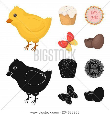 Easter Cake, Chicken, Butterfly And Greeting Sign.easter Set Collection Icons In Cartoon, Black Styl