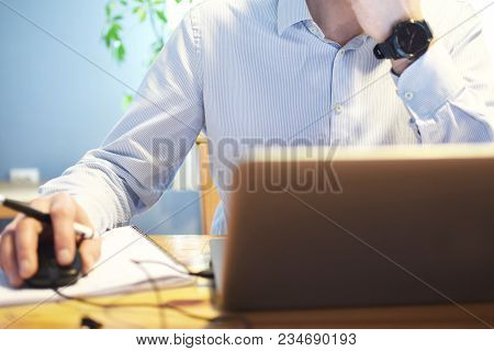 Man Hands Wearing Light Blue Striped Shirt Work With Laptop And Write With Pen On Paper On Old Natur