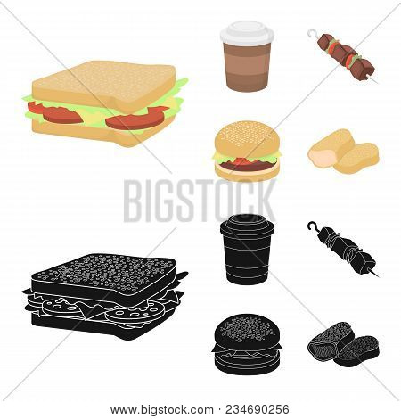 Sandwich, Coffee, Shish Kebab, Burger.fast Food Set Collection Icons In Cartoon, Black Style Vector