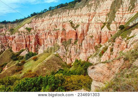 Red Clays With Dinosaur Fossils. Geological Reserve