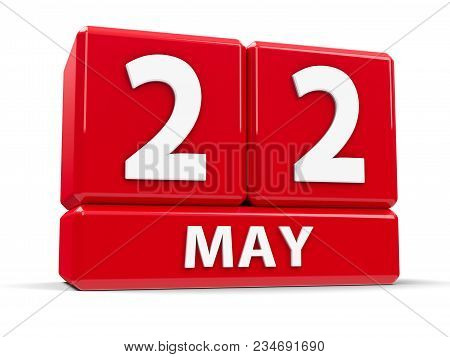 Red Cubes - The Twenty Second Of May - On A White Table - International Day For Biological Diversity
