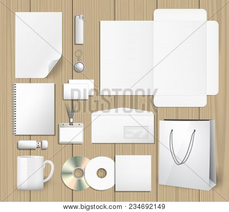 Blank Corporate Identity Mock Ups Set. Notepad, Cd Cover, Shopping Bag, Usb Stick, Lighter, Envelope