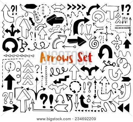 Hand Drawn Arrow Icons, Exclamation, Question Mark. Ink Pen Sketch Doodle Symbol. Graphic Design Ske
