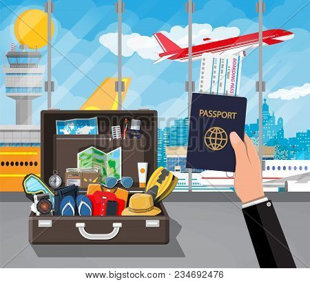 International Airport Concept. Summer Holiday, Tourism And Vacation Items. Bag Photo Camera Compass,
