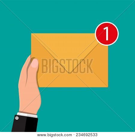 Paper Envelope Letter With Counter Notification In Hand. Mail Sms Message Icon. Unread Email Message