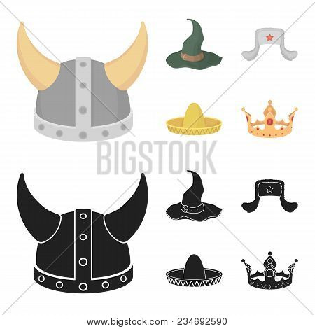 Sombrero, Hat With Ear-flaps, Helmet Of The Viking.hats Set Collection Icons In Cartoon, Black Style