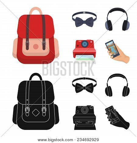 Hipster, Fashion, Style, Subculture .hipster Style Set Collection Icons In Cartoon, Black Style Vect