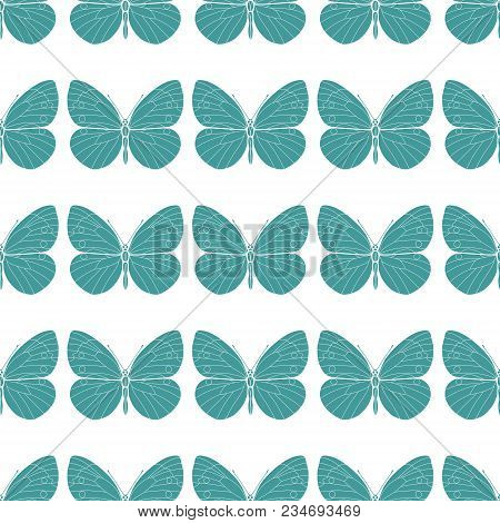 Seamless Pattern With Butterflies. Abstract Polygonal, Silhouette Of A Colored Flat Butterfly