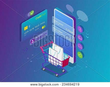 Isometric Smart Phone Online Shopping Concept. Online Store, Shopping Cart Icon. Ecommerce. Vector I