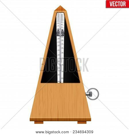 Classic Metronome. Vintage Wooden Style. Equipment Of Music And Beat Mechanism. Vector Illustration