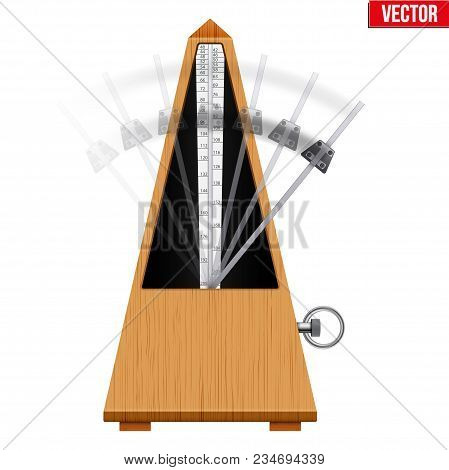 Classic Metronome With Pendulum In Motion. Vintage Wooden Style. Equipment Of Music And Beat Mechani