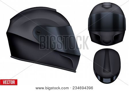 Set Of Black Motor Racing Helmets With Closed Glass Visor. For Car And Motorcycle Sport. Front And S