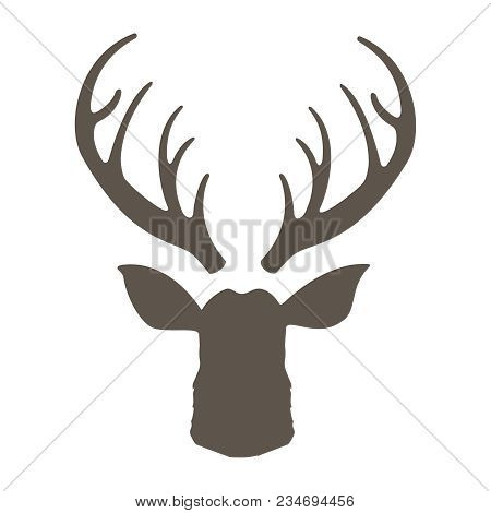Reindeer With Horns Vector Illustration. Deer Hipster Icon. Head Deer Silhouetted. Hand Drawn Styliz