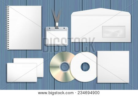 Blank Corporate Identity Mock Ups Set. Notepad, Cd Cover, Name Tag Badge, Envelope, Business Card. G