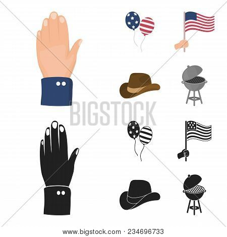 Balloons, National Flag, Cowboy Hat, Palm Hand.patriot Day Set Collection Icons In Cartoon, Black St