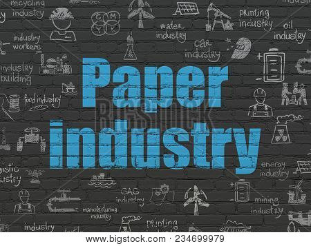 Industry Concept: Painted Blue Text Paper Industry On Black Brick Wall Background With  Hand Drawn I
