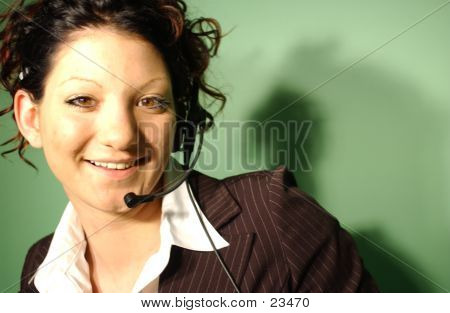 Woman using a headset poster