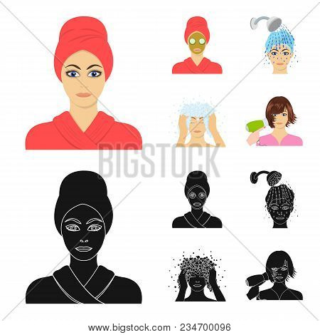 Hands, Hygiene, Cosmetology And Other  Icon In Cartoon, Black Style.bath, Clothes, Means Icons In Se