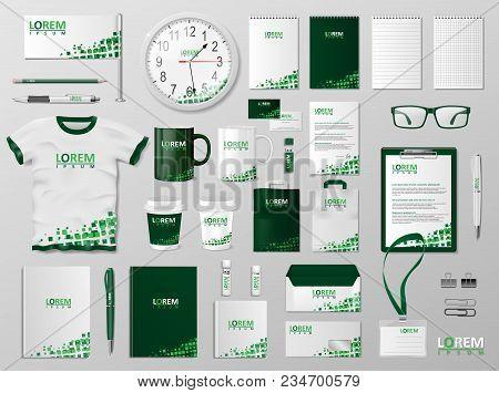 Corporate Branding Identity Template Design. Modern Stationery Mockup For Shop With Modern Blue Stru