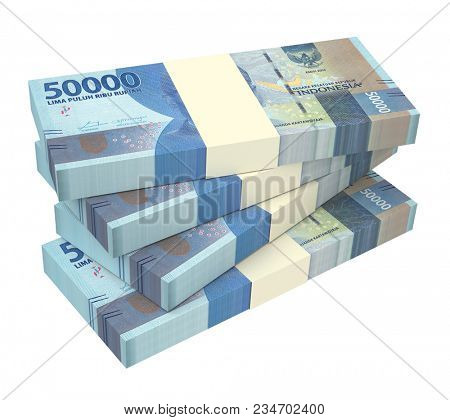 Indonesian rupiah money isolated on white with clipping path. 3D illustration.