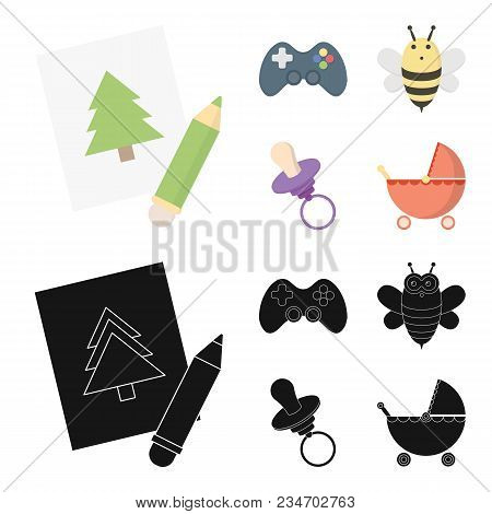 Picture, Dzhostik, Bee, Nipple.toys Set Collection Icons In Cartoon, Black Style Vector Symbol Stock