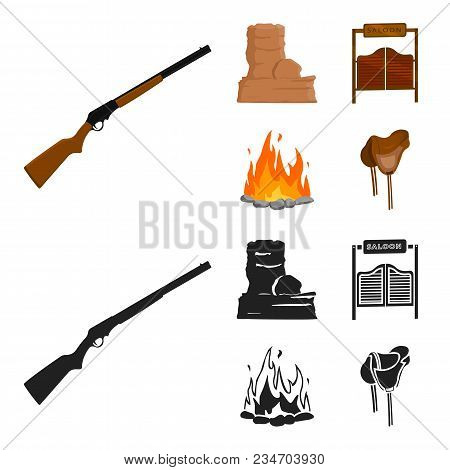 Winchester, Saloon, Rock, Fire.wild West Set Collection Icons In Cartoon, Black Style Vector Symbol