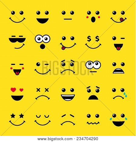 Set Of Line Art Emoticons Or Emoji Icons Yellow. Smile Icons Vector Illustration Isolated On Yellow