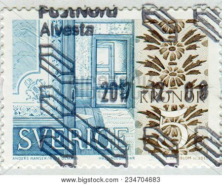 GOMEL, BELARUS, 6 DECEMBER 2017, Stamp printed in Sweden shows image of the Swedich arhitecture, circa 2015.