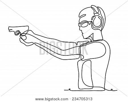 Professional Policeman Special Force Trained Battleground Officer Shooting With Gun Glock Pistol At