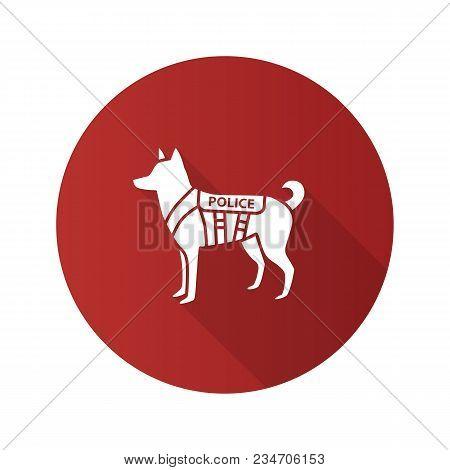 K9 Police Dog Flat Design Long Shadow Glyph Icon. German Shepherd. Military Dog Breed. Vector Silhou