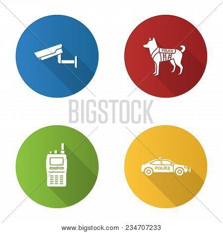 Police Flat Design Long Shadow Glyph Icons Set. Surveillance Camera, Military Dog, Walkie Talkie, Ca