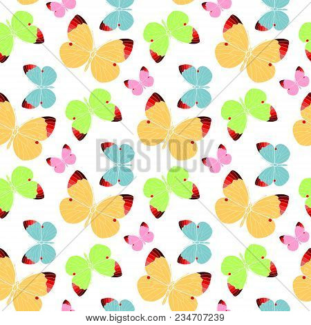Seamless Pattern With Butterflies. Abstract Polygonal, Silhouette Of A Multicolor Flat Butterfly
