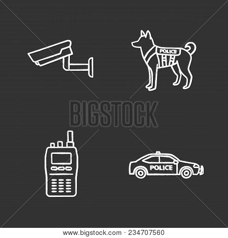 Police Chalk Icons Set. Surveillance Camera, Military Dog, Walkie Talkie, Car. Isolated Vector Chalk