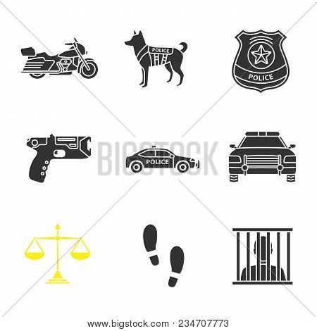 Police Glyph Icons Set. Motorbike, Military Dog, Police Badge, Taser, Cars, Justice Scales, Footprin