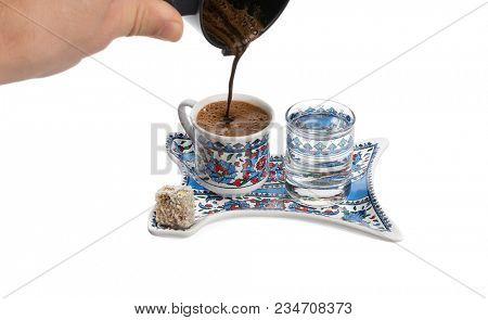 Pouring Turkish Coffee Isolated