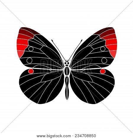 Vector. Abstract Polygonal Butterfly. Silhouette Black And Red Flat Butterfly