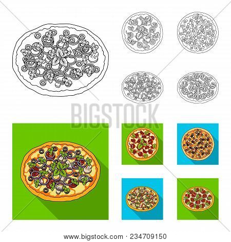 Pizza With Meat, Cheese And Other Filling. Different Pizza Set Collection Icons In Outline, Flat Sty